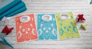Bavoir éponge motif chouette - Encolure bord côte - 3 coloris assortis