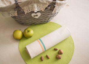 Torchon 100% coton écru - Liteaux vert et jaune