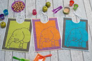 Bavoir éponge moif pachyderme - Encolure lacettes - 3 coloris assortis