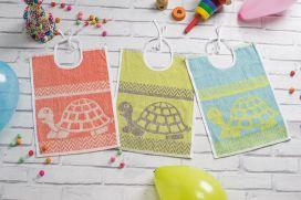 Bavoir éponge motif tortue - Encolure lacette - 3 coloris assortis